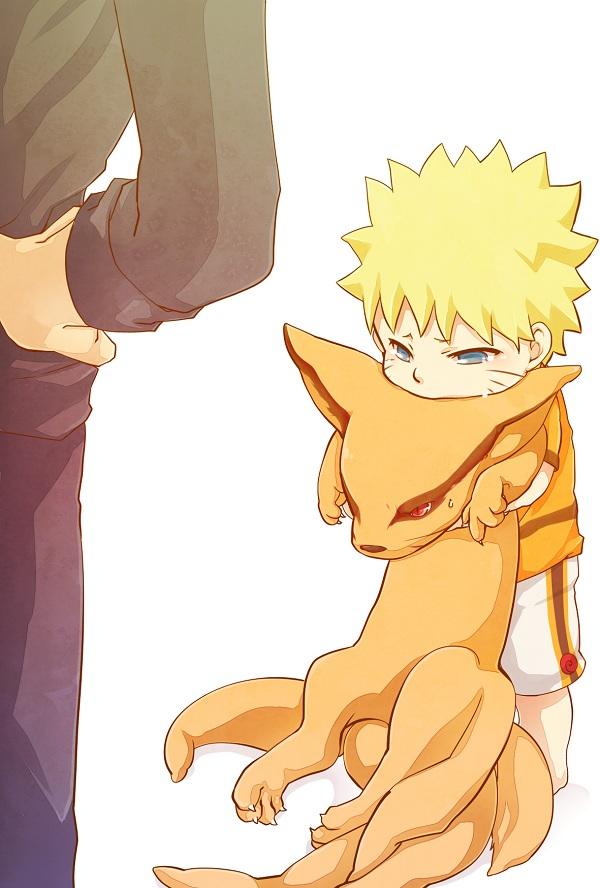 Ảnh anime Naruto còn nhỏ và Cửu Vĩ chibi thật đáng yêu