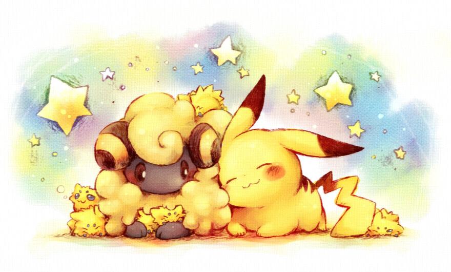 Ảnh anime Pikachu đáng yêu và chú cừu cute