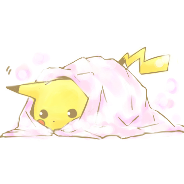 Ảnh anime Pikachu dễ thương đang trốn trong chăn hồng