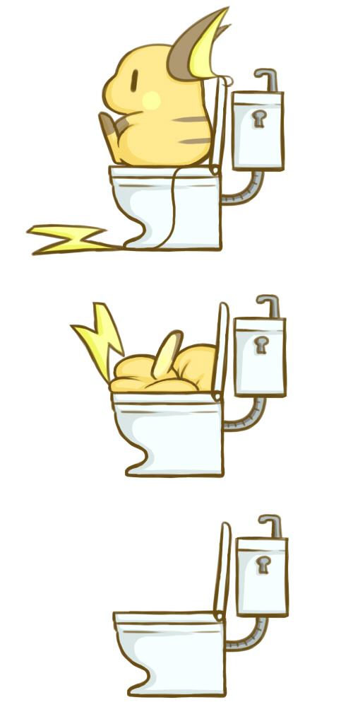 Ảnh anime Raichu cute đi toilet tụt luôn xuống đó