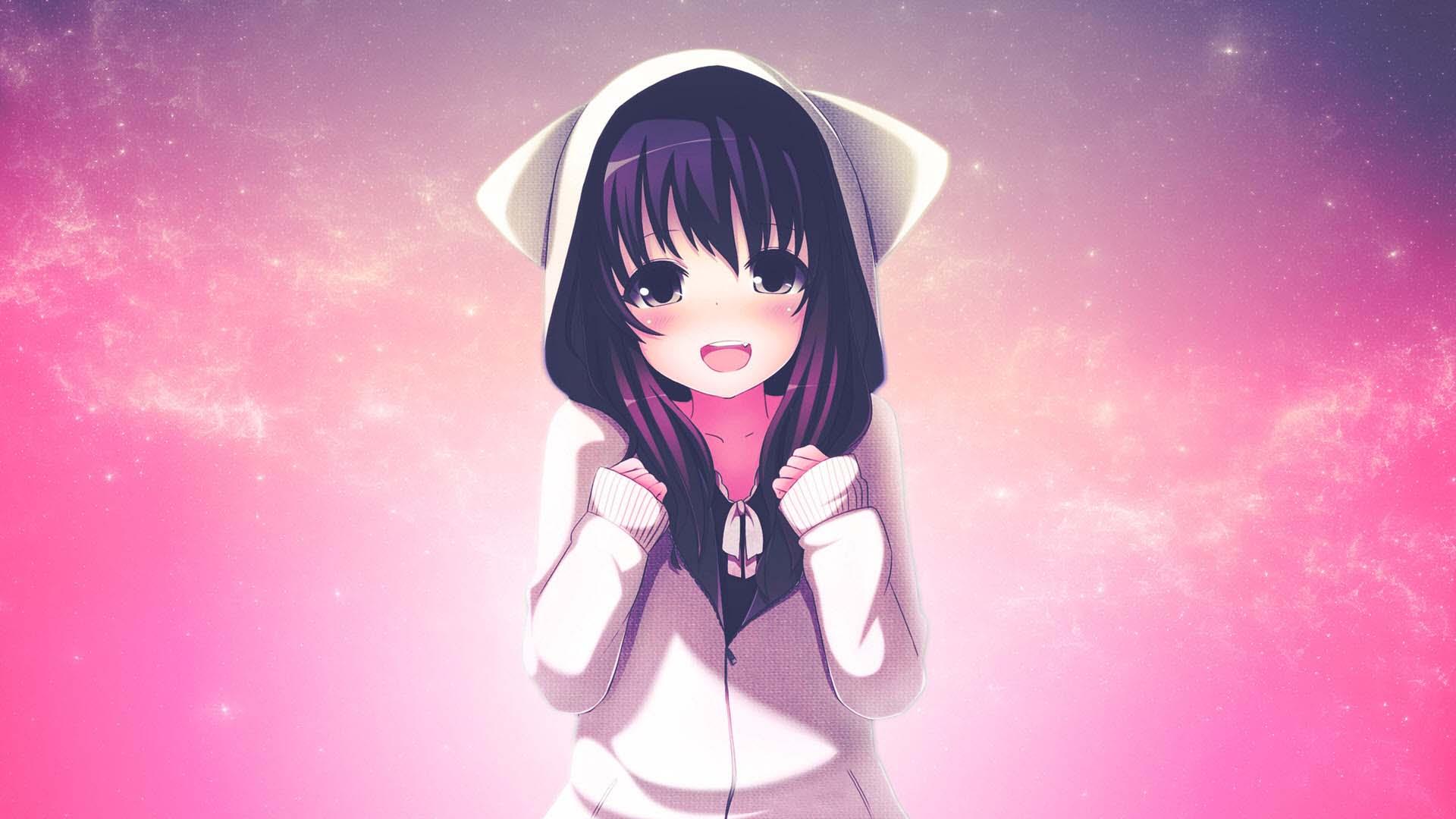 Hình anime cô gái dễ thương mặc áo tai mèo