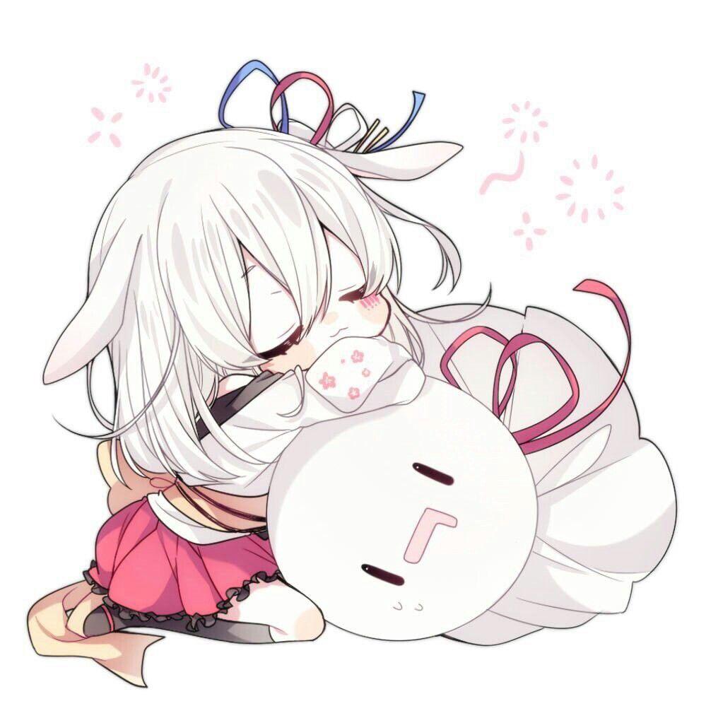Hình anime dễ thương bé thỏ và búp bê cầu mưa