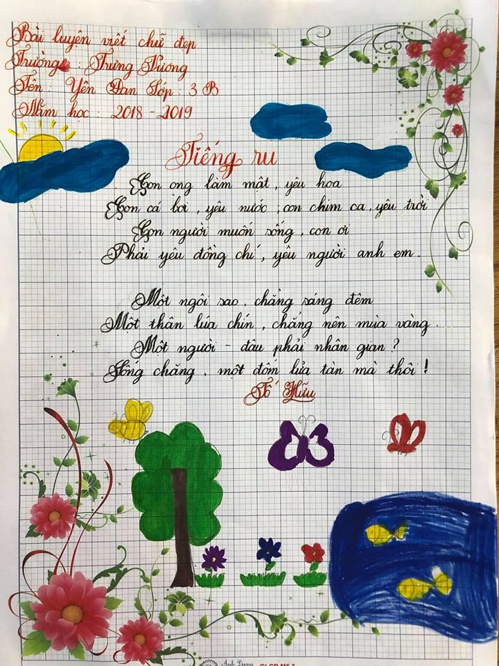 Ảnh bài viết chữ đẹp của học sinh