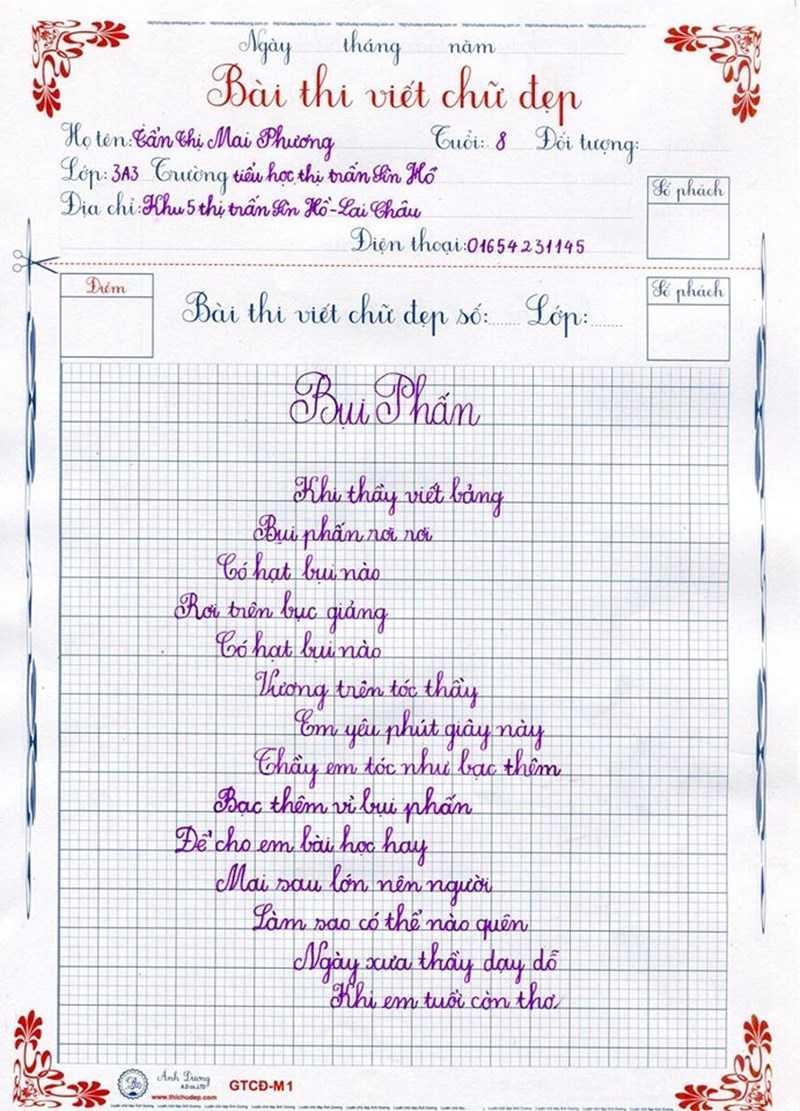 Ảnh mẫu viết chữ đẹp của học sinh