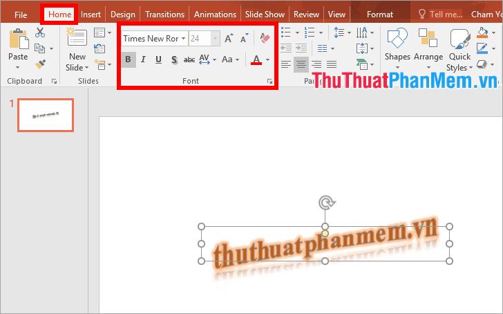 Chỉnh sửa kích thước chữ, font, kiểu chữ trong phần Font của thẻ Home