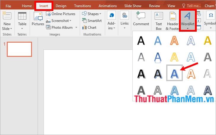 Chọn Insert → WordArt → chọn kiểu chữ nghệ thuật