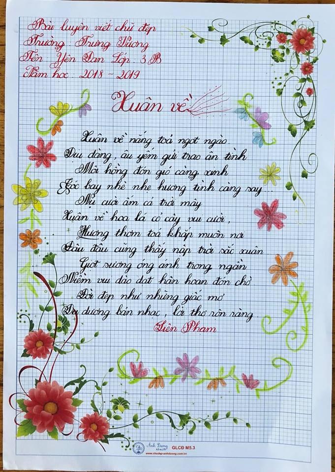 Hình ảnh mẫu viết chữ đẹp của học sinh