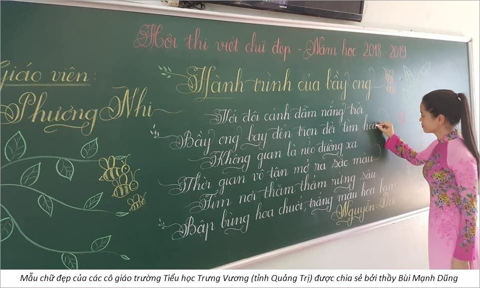 Mẫu chữ viết đẹp sáng tạo của cô giáo