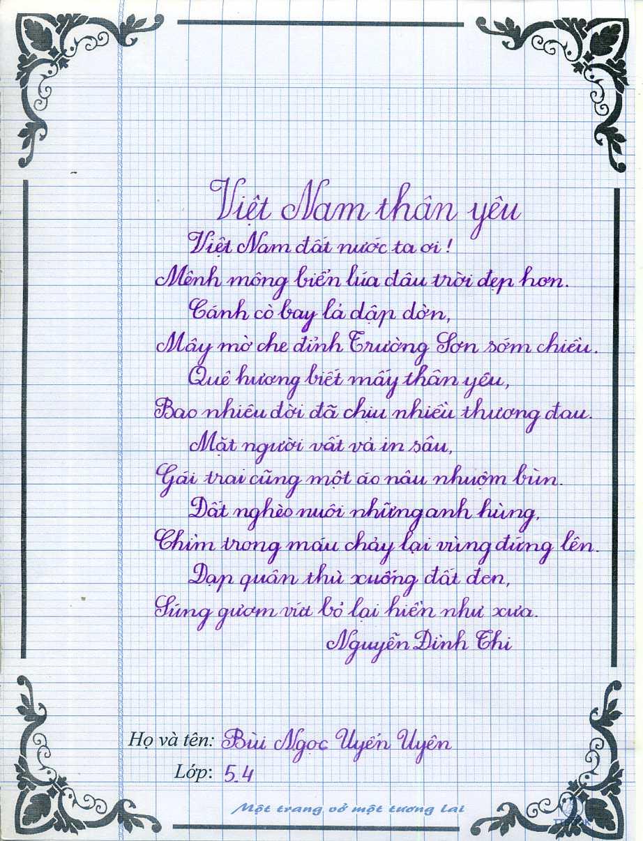Mẫu luyện viết chữ đẹp