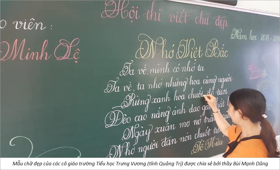 Mẫu viết chữ đẹp của cô giáo
