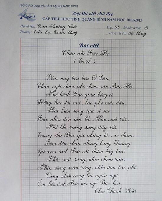 Mẫu viết chữ đẹp nhất của các học sinh