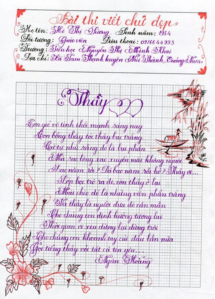 Những mẫu chữ đẹp nhất của học sinh