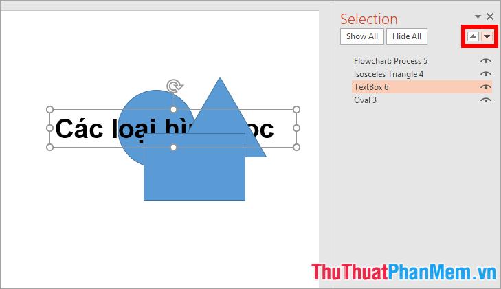 Sử dụng hình tam giác quay lên hoặc quay xuống để di chuyển lên hoặc xuống dưới