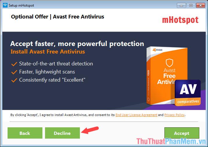 Bấm Decline để bỏ qua cài đặt phần mềm Avira Free Antivirus