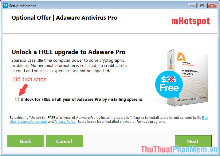 Bỏ tích chọn nếu không muốn cài đặt Adaware Antivirus Pro