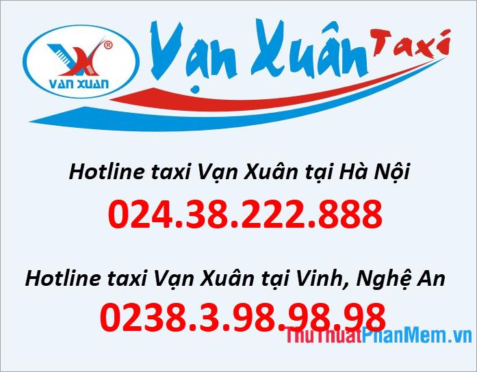 Số điện thoại tổng đài Taxi Vạn Xuân
