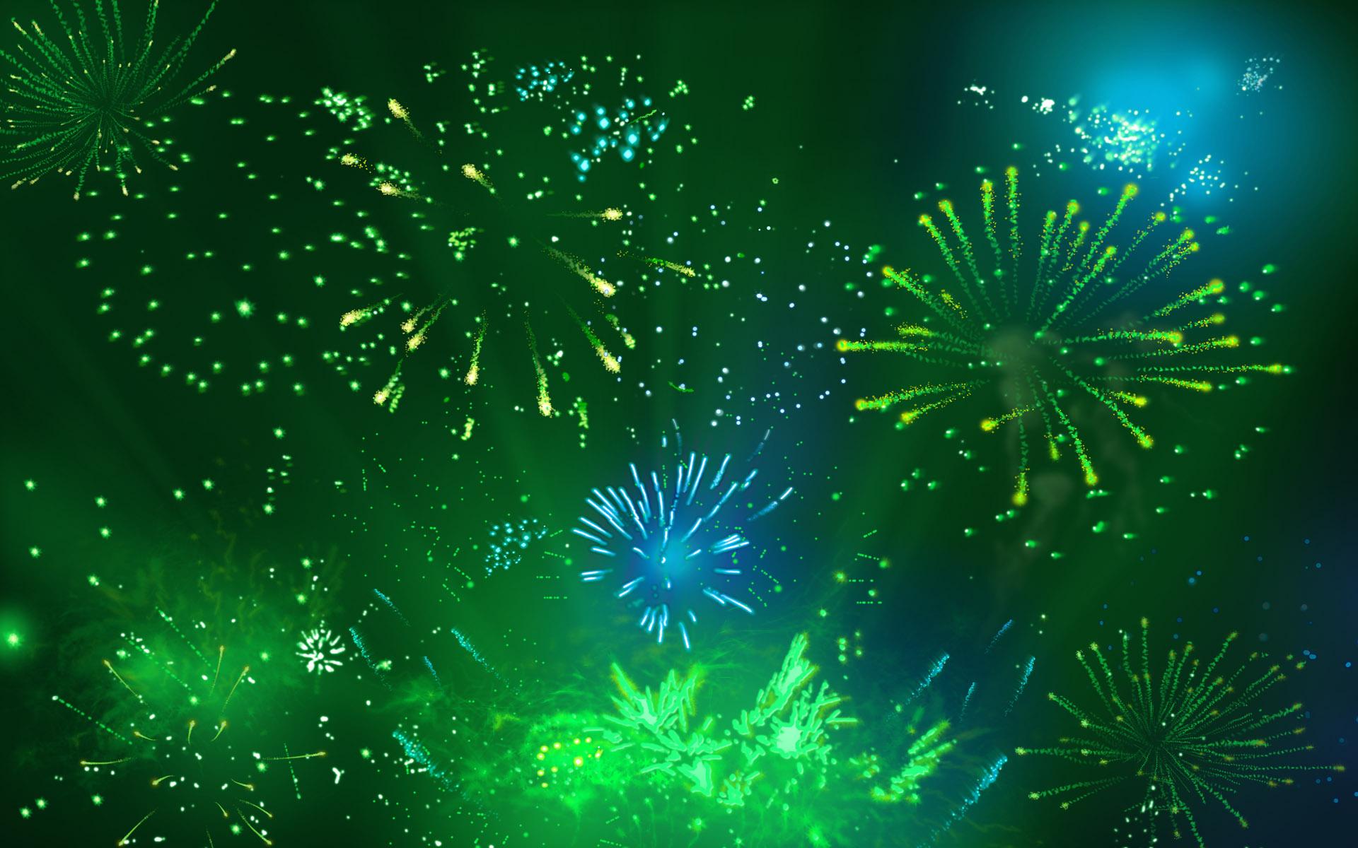 Hình nền xanh lá cho power point pháo hoa