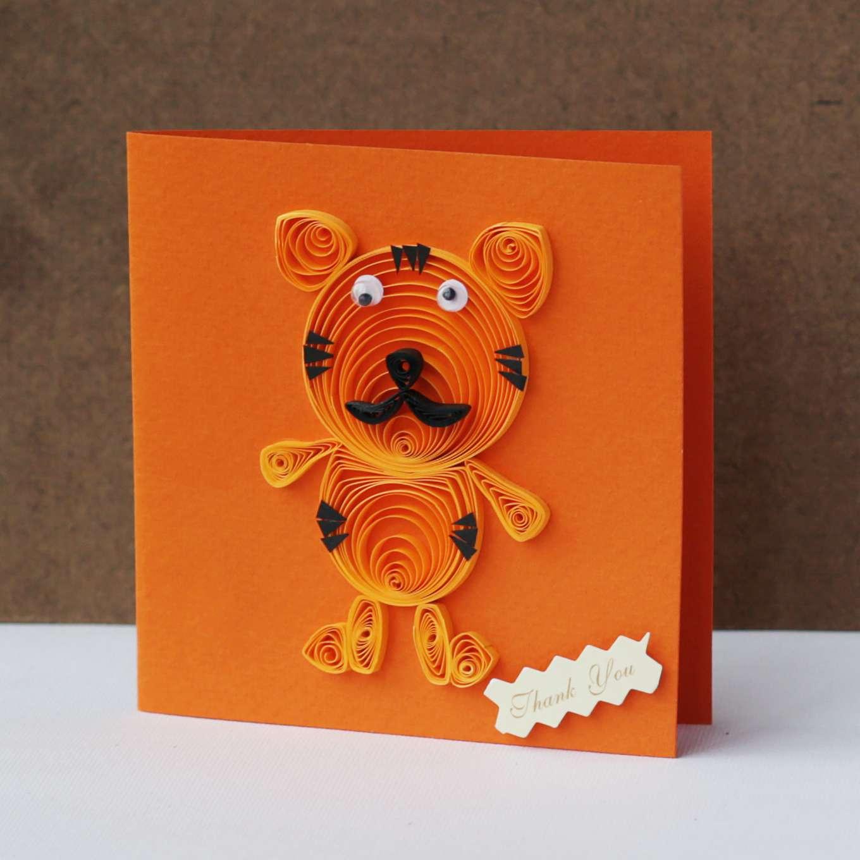 Thiệp handmade cuộn giấy hình chú hổ đáng yêu