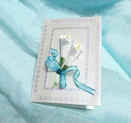 Thiệp handmade đơn giản với hai bông hoa ly