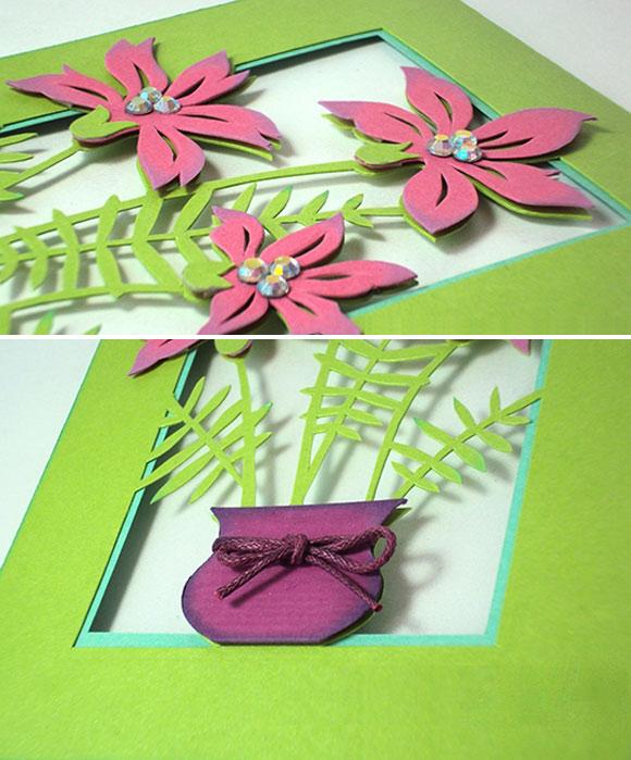 Thiệp handmade hình lọ hoa rất đpẹ