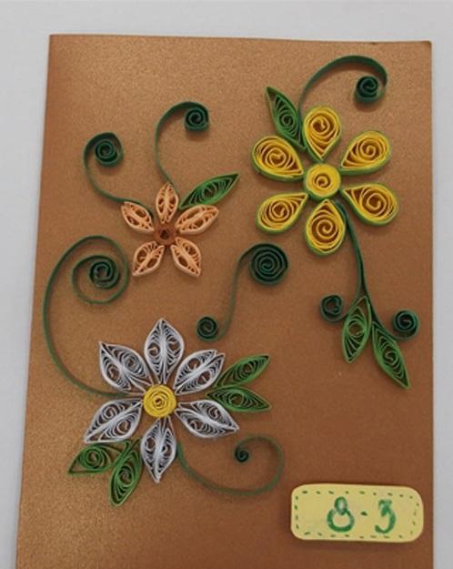 Thiệp handmade với những cành hoa đơn giản cho ngày mùng tám tháng ba