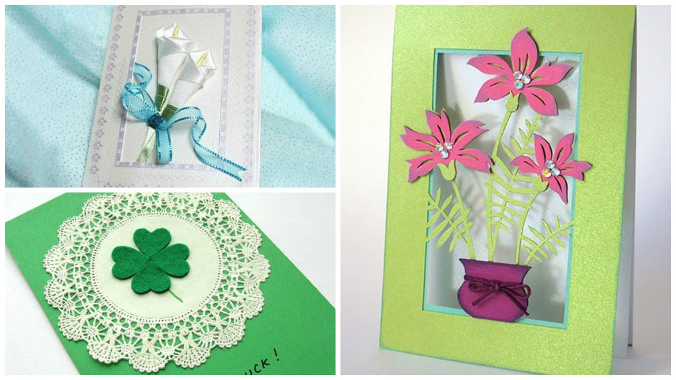 Thiệp làm bằng tay handmade mùng 8 tháng 3 với hoa lá cành xinh đẹp