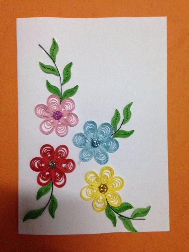 Thiệp làm tay handmade với những bông hoa đơn giản nhưng vẫn đẹp