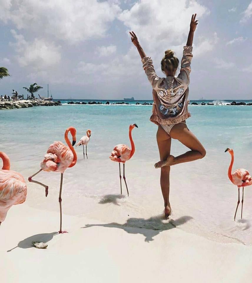 Bãi biển thu hút khách nhờ bầy chim hồng hạc đẹp nhất thế giới