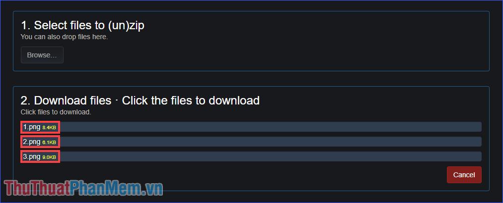 Chọn file cần tải