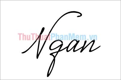 Mẫu chữ ký đơn giản tên Ngân