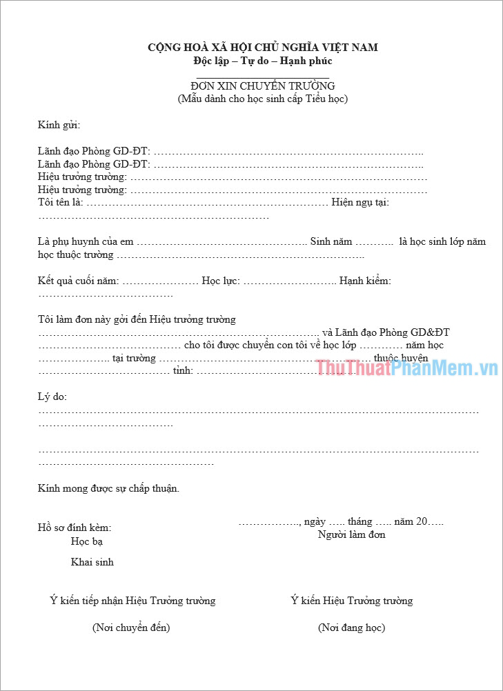 Mẫu đơn xin chuyển trường bậc Tiểu học chuẩn nhất