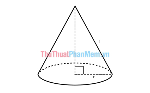 Công thức tính diện tích xung quanh hình nón