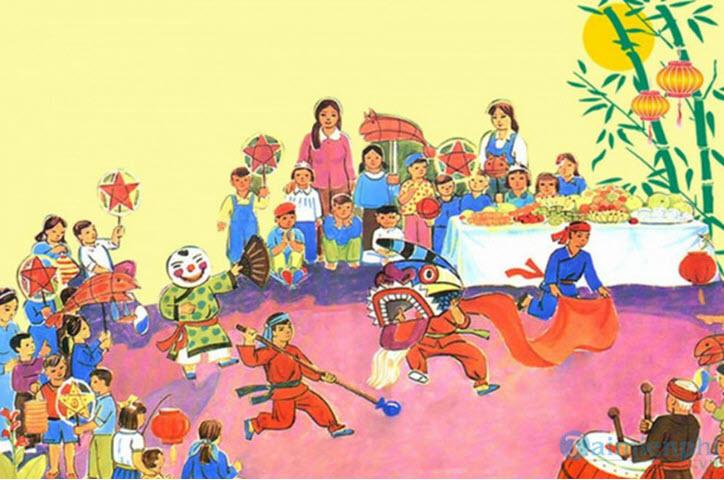 Bức tranh vẽ đề tài lễ hội mùa xuân