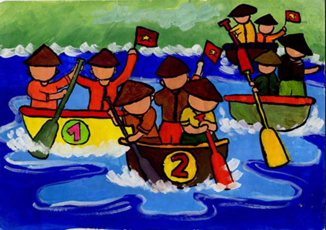 Tranh đề tài lễ hội trèo thuyền