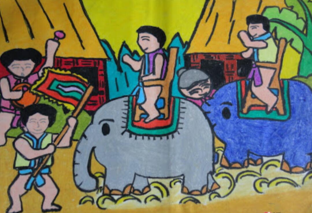 Tranh vẽ đề tài lễ hội đua voi Tây Nguyên