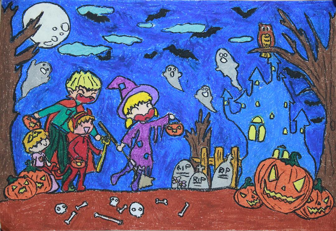 Tranh vẽ đề tài lễ hội halloween đẹp