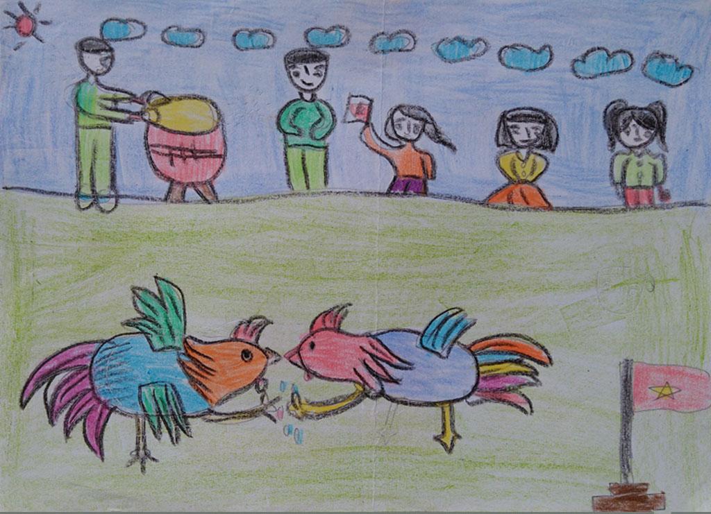 Tranh vẽ lễ hội chọi gà của học sinh