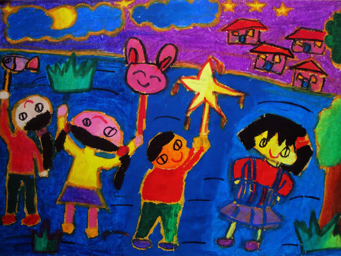 Tranh vẽ lễ hội của các em thiếu nhi