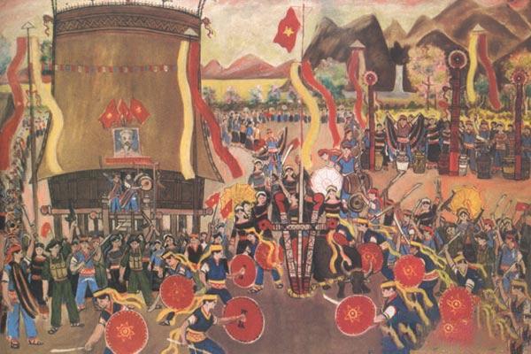 Tranh vẽ lễ hội dân tộc