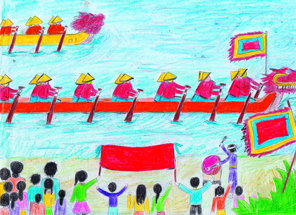 Tranh vẽ lễ hội đua thuyền rồng