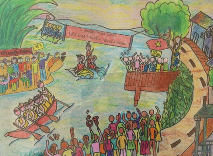 Tranh vẽ lễ hội đua thuyền