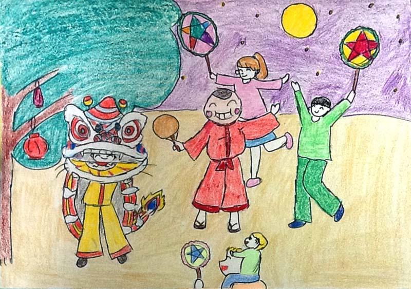 Tranh vẽ lễ hội trăng rằm