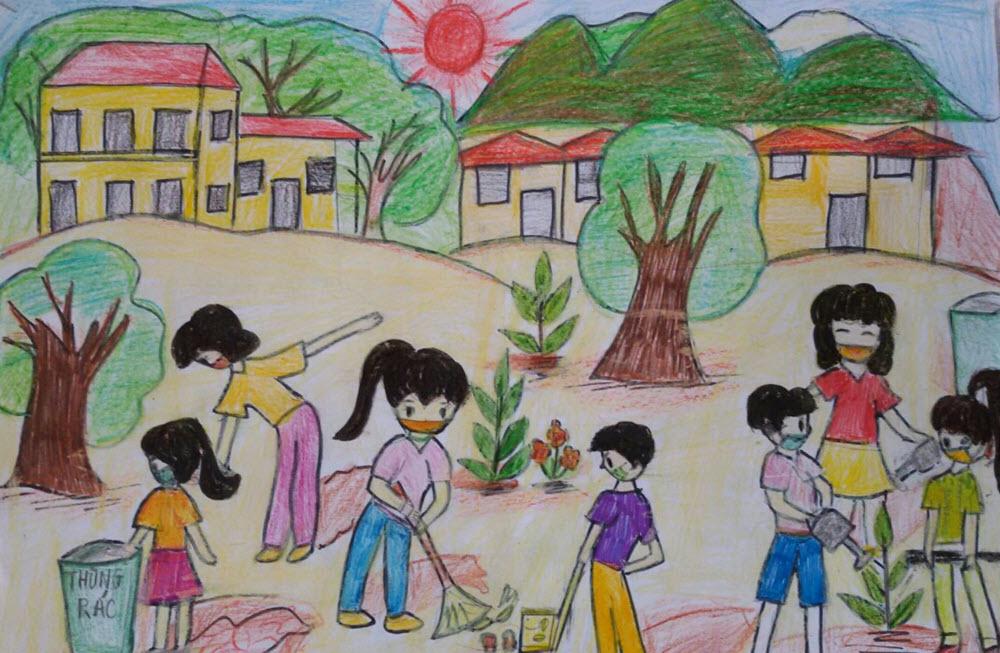 Tranh vẽ lễ hội trồng cây