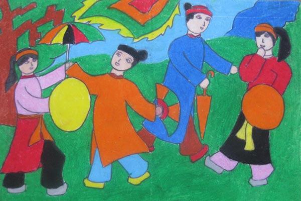Tranh vẽ lễ hội truyền thống