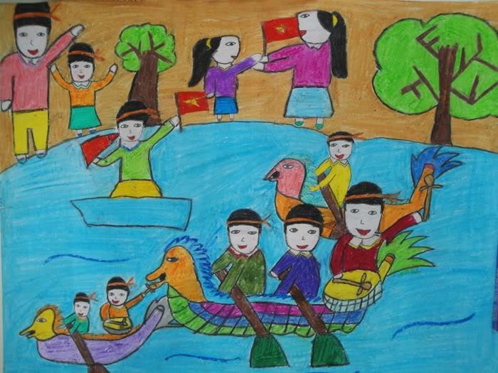 Tranh vẽ ngày hội chèo thuyền của học sinh