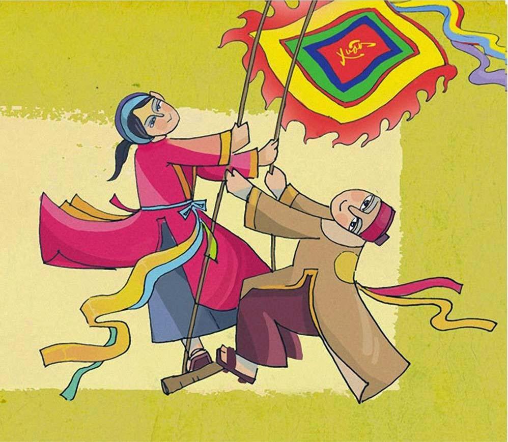 Tranh vẽ về lễ hội múa sạp ngày xuân
