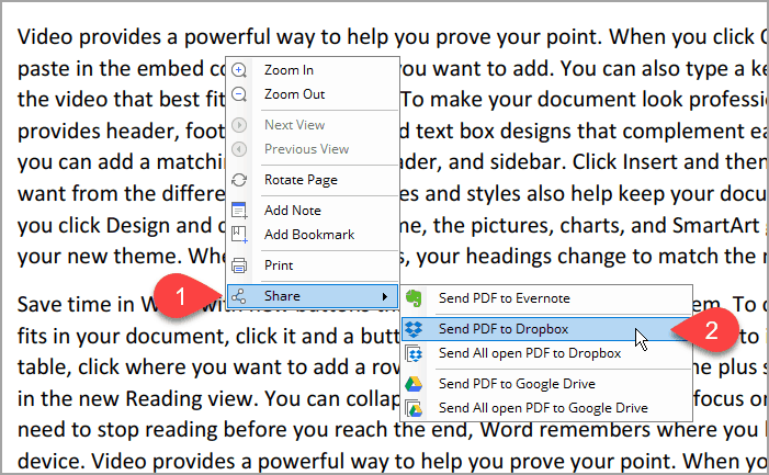 Send PDF to Dropbox