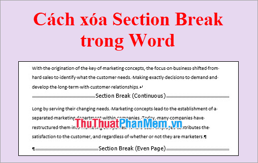 Cách xóa Section Break trong Word