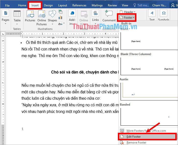 Chọn Insert - Footer - Edit Footer