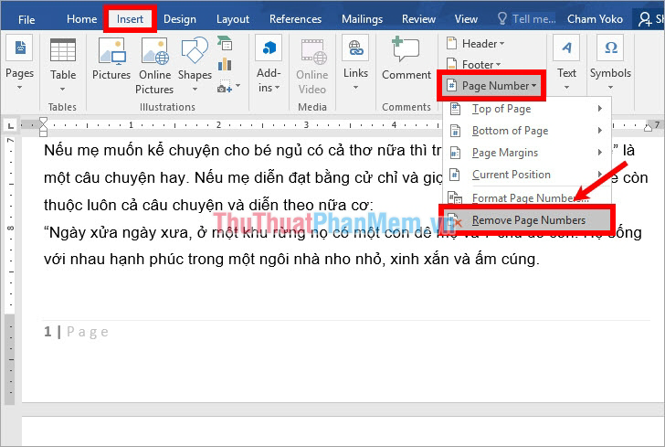 Chọn thẻ Insert - Page number - Remove Page Numbers